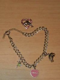 Dolphin and pink rhinestone heart pendant and char