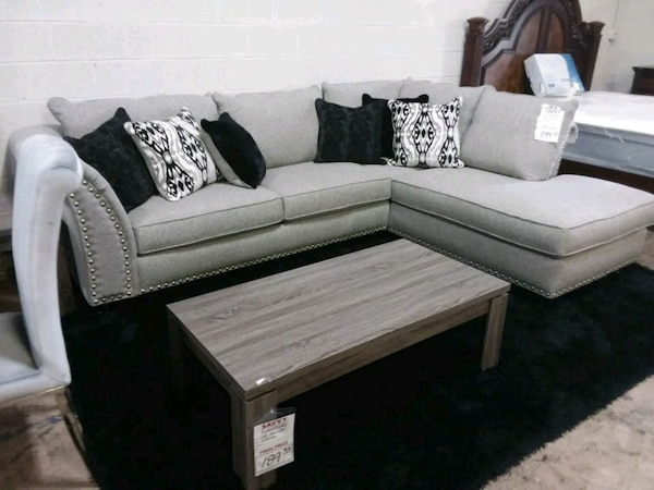 Large Grey Sectional Sofa Couch NEW with pillows