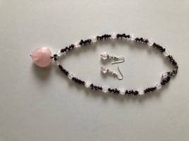 Rose Quartz and garnet heart  necklace and earrings set