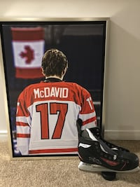 Connor Mcdavid autographed hockey skate with COA and canvas picture.  Waterdown, L8B 0P5