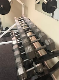 Dumbbells- hex dumbbells and (1) plated dumbbell. See pics. Includes stand. Weights=  [TL_HIDDEN] , [TL_HIDDEN]  [TL_HIDDEN] 0. Over 1560 pounds. Selling as complete set.  Downingtown, 19335