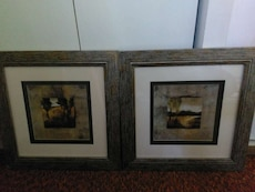 two assorted brown wooden photo frames