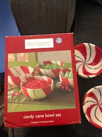 Pier One Imports candy cane bowl set of 4 ceramic bowls San Lorenzo, 94580