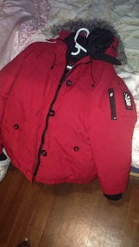red and black parka coat