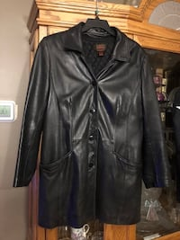 DANIER BLACK LINED LEATHER COAT LG North Dumfries, N0B