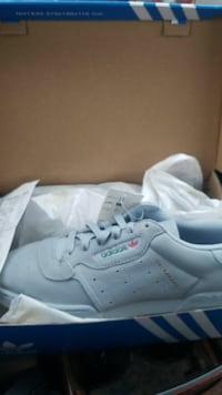 grey Adidas low-top sneakers with box