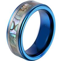 coi jewelry titanium blue color shell ring null