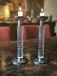 "Candle sticks - Atlantis crystal and silver 10"" high Vienna, 22180"