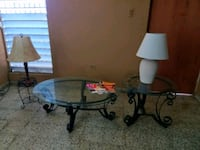 round clear glass-top table with black steel base Bayamón, 00957
