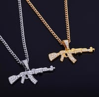 A-K 47 Stainless Steel Cuban Chain| Necklace | Gold |Silver | Diamond