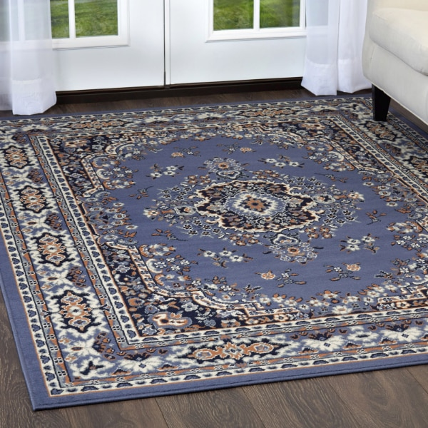 Used Blue Area Rug Traditional Oriental Medallion Persian Style Rugs