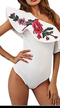 women's white and red floral embroidered monokini Metairie, 70001