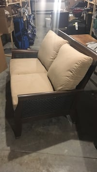 brown wooden framed white padded armchair Woolwich, N3B 3G4