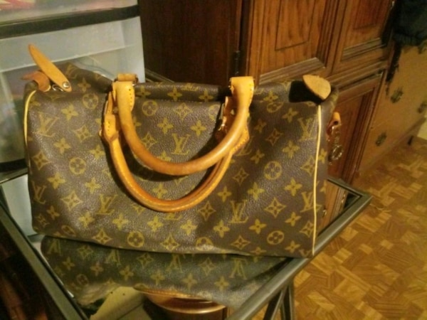brown and black Louis Vuitton monogram leather han