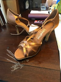 Mia T-Bar Tan Satin - International Dance Shoes Surrey, V4P 2L9