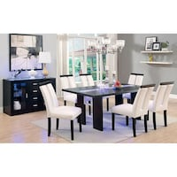 Esquire LED White Leather & Espresso Dinning Table Set Charlotte, 28216