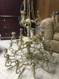 Brushed gold 3 tiered chandelier. Beautiful in a large entryway. Springfield, 07081