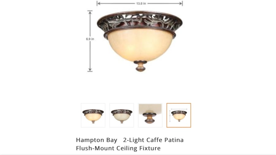 Used Hampton Bay 2 Light Caffe Patina