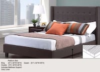 UPHOLSTERED GREY FABRIC BED