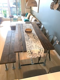 Industrial dining table comes with new chairs and bench Toronto, M6A 0B5