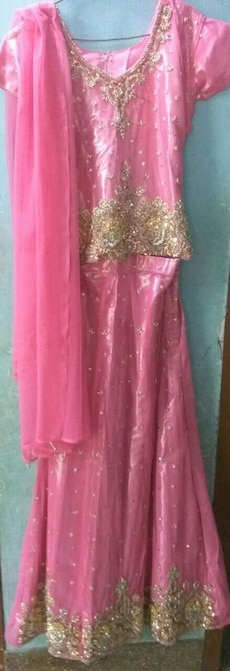 pink-and-gold floral lehanga choli