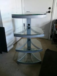 white and black glass 3-layer TV stand