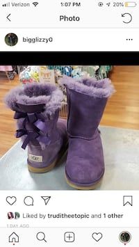 pair of purple UGG Bailey Bow boots 28 km