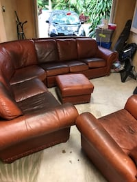 Custom-made Leather Couch Set Used Coral Springs, 33067