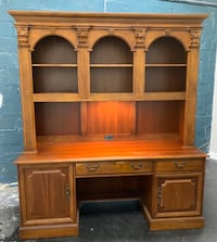 Vintage Wooden desk with hutch attached.