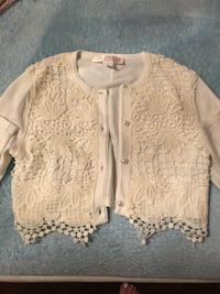 Cardigan sweater size 6x with lace Cream color Vaughan, L4L