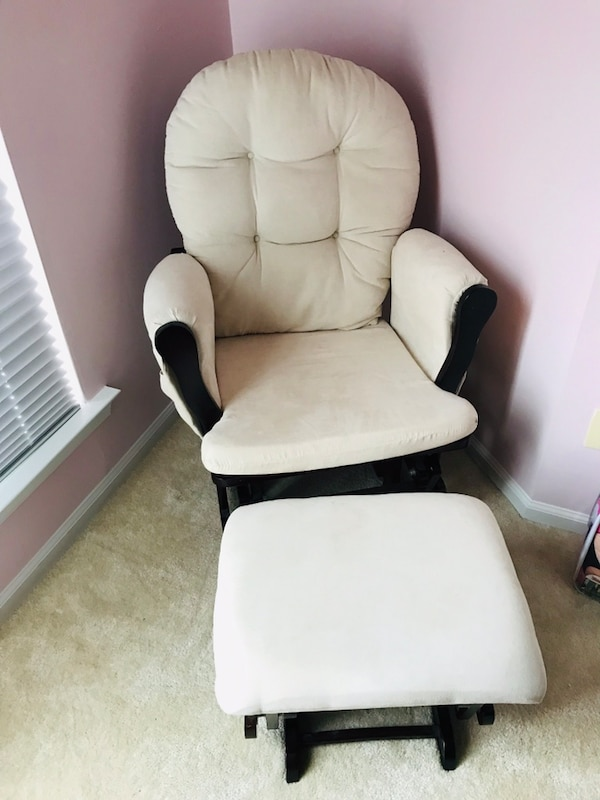 Beige and espresso wood glider chair and sliding foot rest. Moving soon. Great condition.