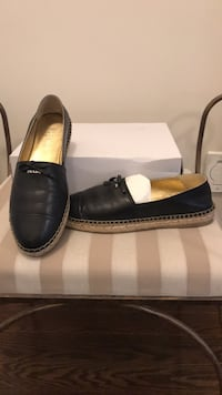 pair of black leather loafers