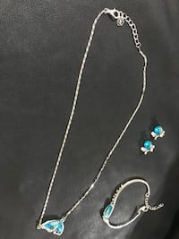 silver and blue gemstone necklace and earrings Jessup, 21076