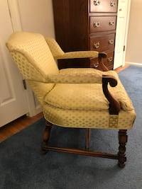 wooden frame yellow/gold padded armchair