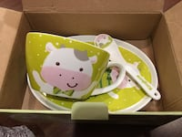 green-and-white ceramic cup, plate, and spoon set with box Burnaby, V5J
