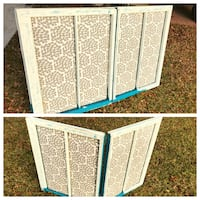 white and blue wooden cabinet