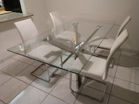 Chrome Stainless Steel and Glass Large Rectangular Table  Miami