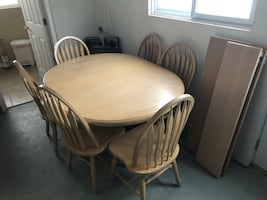 Oak wood table with six chairs dining set