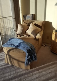 Chaise lounge chair upholstered sand beige box pleat skirt furniture Las Vegas