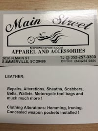 Leather or clothing Alterations , in clothing, drapes, knife sheaths,