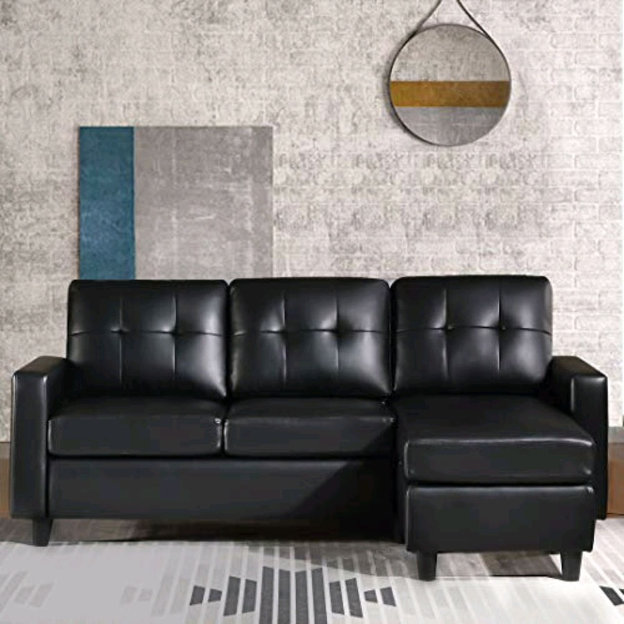 Photo Convertible Sectional Sofa Couch.Faux Leather L-Shape Couch(in box)