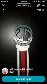 white and red Gucci belt Mississauga, L5M 7L9