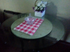 pink and white checkered table cloth