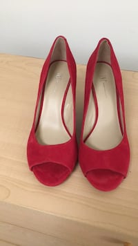 pair of red suede peep toe heels Reston, 20191