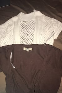 Two cardigans - white and brown
