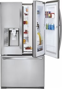As LG French door refrigerator, door in a door, two ice makers, new compressor Jan. 4th, runs as new Albany, 97322