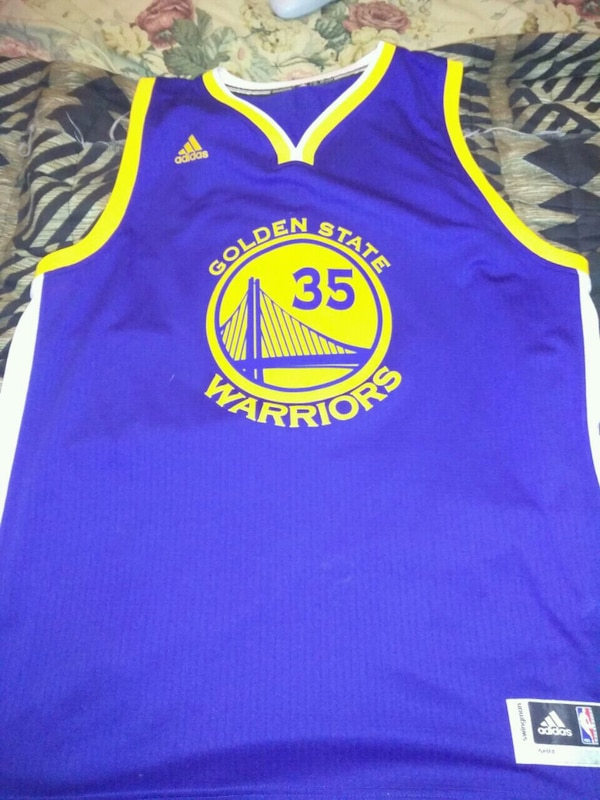 brand new 38e46 c5178 blue and yellow Adidas Golden State Warriors Stephen Curry jersey shirt