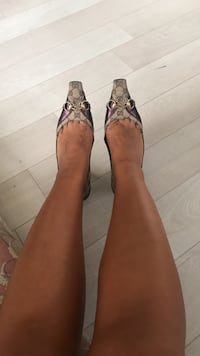 pair of gray-and-purple shoes