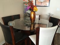 Large round glass pub style  table 54 inches with 6 chairs Toronto, M9V 5G8