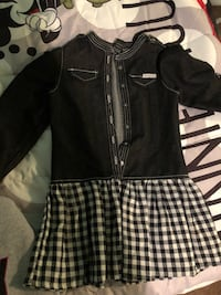 white and black gingham button-up long-sleeved mini dress, 10 total items denim skirt, dress, and sweaters